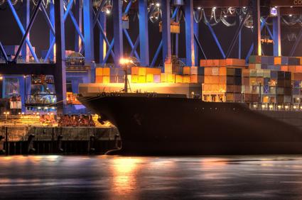 Containerschiff, Nachts, Hafen